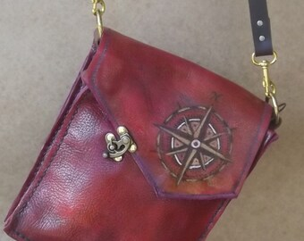 Steampunk Leather Cross body Bag with Compass and Kraken details