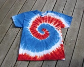Tie Dye Swirl Tee - Adult (Large) V-Neck - Red, White & Blue