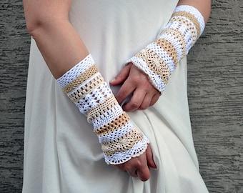 Jasmine - crocheted open work lacy romantic bridal wedding wrist warmers mittens cuffs