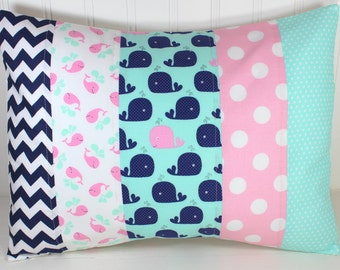 Nursery Pillow Cover, Throw Pillow Cover, Nautical Nursery Decor, Whales, Baby Pink, Mint, Seafoam, Navy Blue, Chevron,  12 x 16 Inches