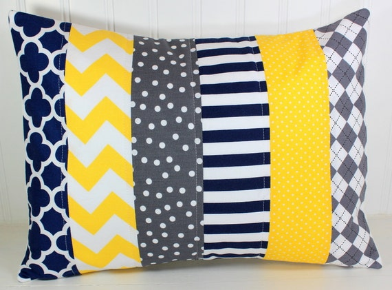 Pillow cover baby boy nursery decor patchwork pillow cover - Navy blue and yellow bedding ...