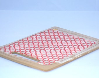 Cheese Board Tray, ceramic platter, wedding gift,  with red stars on white  gold luster