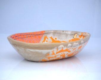 Ceramic serving bowl,unique pottery bowl, fox ceramic serving dish, Made to order