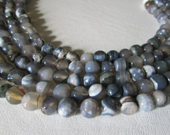 Gray and White Disco Ball Faceted Agate Rounds Half Strand