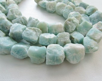 Amazonite Rough Nugget Matte Chunky Rough Cube Straight Drilled Beads, Half Strand