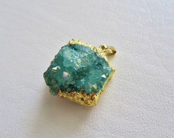 Mystic AB Teal Green Square Drusy Quartz Freeform Geode Nugget Gold Leafed Focal Pendant