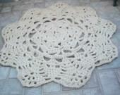 "Hand Crochet Doily Rug - 48"" Round"