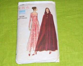Womens  Vintage 1960s  Vogue Printed Long Dress and Cloak Cape Pattern Size 8 Bust 31 style 8183 Uncut  Madmen Rockabilly