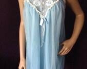 Sweet Vintage Blue Nightie Negligee Boudoir Glam Medium