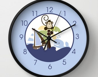 Ahoy Mate Whale with Monkey in Palm Tree Nursery 10-inch Wall Clock, Choose frame color, personalization, clock hands