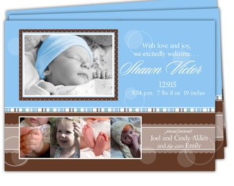 Digital File Print it Yourself/Baby Birth Announcements/you can change the colors/Shawn and Shawna design