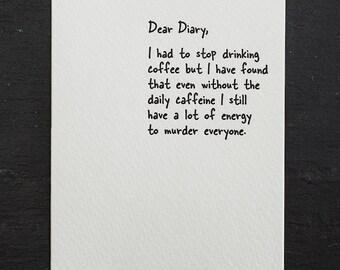 murder. letterpress card. #852