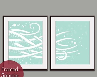 Octopus Tentacles (series A) Set of 2 - Art PRINT (Featured in Duck Egg) Modern Nautical/Beach Art Prints
