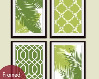 Palm Tree Branches and Geometric Patterns (Series A) Set of 4 - Art Prints (Featured in Grass and Basil) Tropical Art Prints