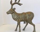 Antique Brass Large Elk Moose Deer Figurine, Brass Home Decor