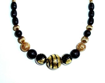 "VENETIAN MURANO foil glass 18 1/8"" NECKLACE, tigers eye, elegant gold, black,striped center,agate,onyx"