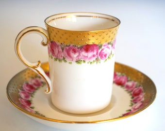 Rare Vintage George Jones & Sons Crescent Fine China Demitasse and Saucer Pink and Gold with Handpainted Roses and Swiss Dots of Gold