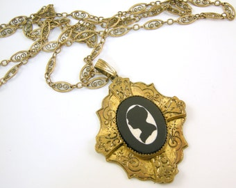 Victorian Revival Black and White Silhouette Cameo Necklace Gold Filled