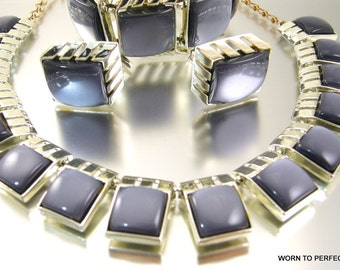 Gray Moonglow Thermoplastic Jewelry Set Necklace Bracelet Earrings