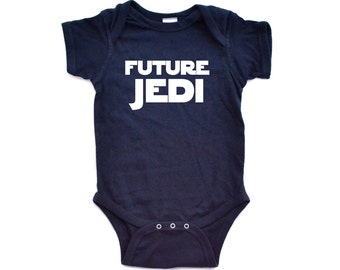 Funny Adorable Future Jedi Baby One Piece Bodysuit Sci Fi Geek Humor Inspired Printed on Dark or Light Colors Cute Baby Shower Gift Present