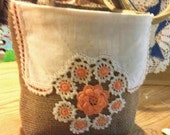 Small BURLAP TOTE with Vintage Crocheted Lace on Doily and Peachy Orange Hand Crocheted Flowers TOSCOFG