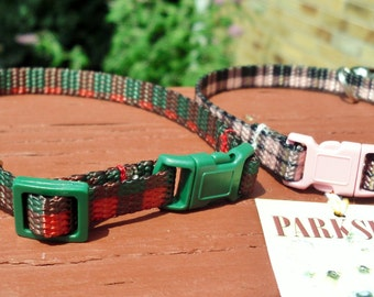 Plaid Webbing Cat or Small Dog Collar