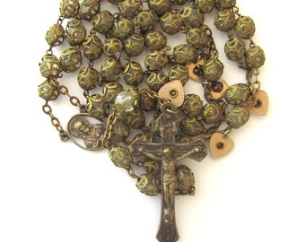 Vintage Crystal Rosary Double Capped Beads Rhinestone Heart Charms Rare
