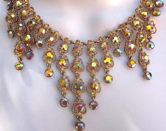 Rhinestone Vintage Bib Necklace and Earrings Formal Jewelry