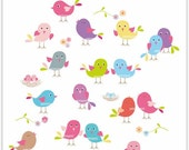 ON SALE birds clip art , Digital clipart. for all use. Bird society , instant download