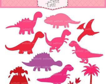 ON SALE Dinosaur Digital clip art - Dino clipart, Dinosaur clip art, girl dinosaur, cute dinosaur, pink dinosaurs, INSTANT Download