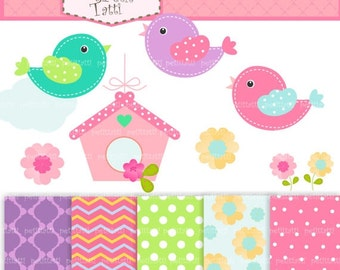 ON SALE bird clip art, Matching clipart digital papers, Bird and Birdcage, Pink, green , Instant download, clip art, Digital paper