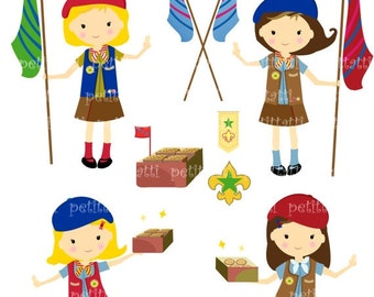 ON SALE Girl Scout clip art - girls clip art, Digital clip art  for all use, Girl Guides clip art, INSTANT Download