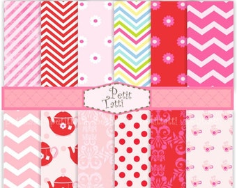 ON SALE pink digital paper, set of 12 Tea party digital sheets , Pink , red, chevron, zig zag , instant download digital clip a