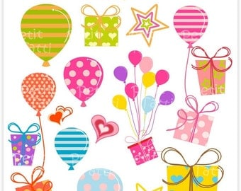 ON SALE balloons Digital clip art, gift box clip art - Balloons Party, balloon clip art, birthday clip art, Download and print, PNG