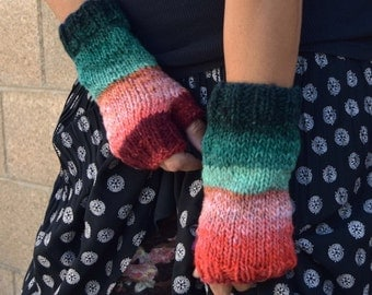 Noro Kureyon wrist warmers wool colorful Christmas gift