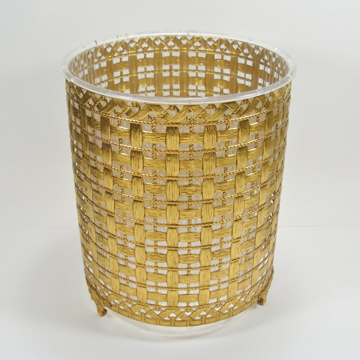 Metal Waste Basket Gold Tone Woven Look Trash Can