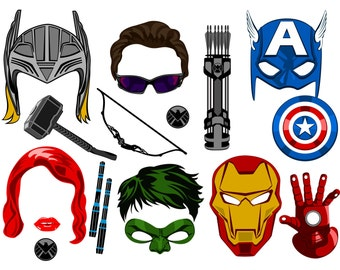 Super hero avengers inspired digital photo booth props Instant download