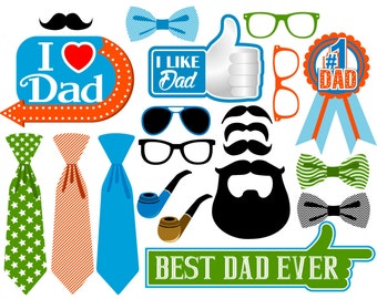 Father's Day digital photo booth props Instant download