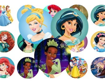 Princesses - 1 inch circles