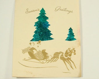 Vintage Season's Greetings Christmas Card, Retro Holiday Card, Foil Christmas Tree, Whie and Gold, Metallic, 1952, Mid Century  (420-15)