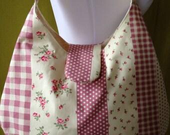 Clearance Sale - Pretty Pink Patchwork Shoulder Bag - Slouch Bag, Hobo Bag - Patchwork Purse - Pink Shoulder Bag - Boho Chic - Unique Gift