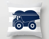 SALE Free Shipping 18X18 pillow cover Navy Dump Truck Construction Gray stripe