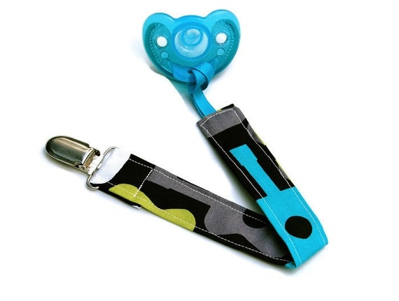 Soothie Pacifier Clip - Pacifier Holder - Mam Clip -Baby Boy - Guitar Lagoon