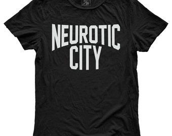 Neurotic City, 100 Percent Cotton T-shirt, Vintage Black, unisex