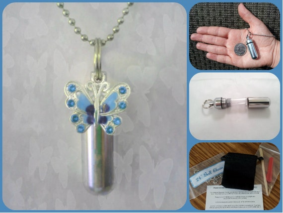 "COMPLETE SET - Cremation Urn & Vial on 24"" Necklace - with Blue BUTTERFLY Custom Hand Assembled....w/Velvet Pouch and Fill Kit"