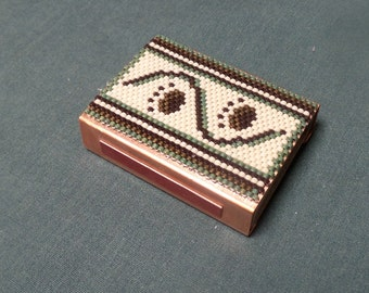 Peyote Beadwork Matchbox cover holder beaded copper sleeve for Fathers Day, Alaskan Kodiak Brown Bear Paw Prints Tracks
