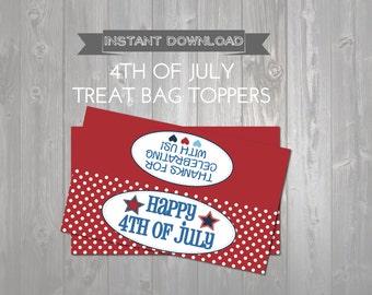 Happy 4th of July Treat Bag Toppers - Printable Patriotic Favors - Kids Exchange - DIY Printable Bag Topper - 4th of July Printable Party