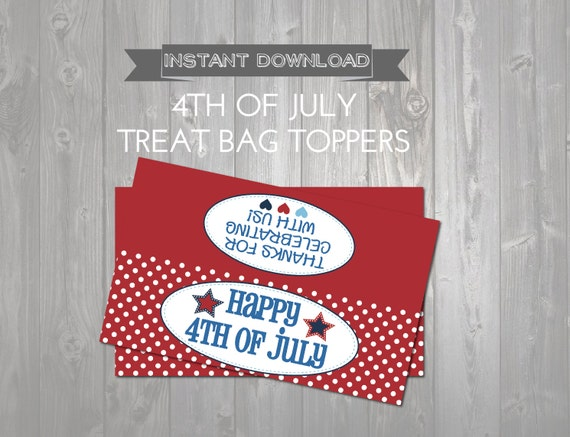 Happy 4th of July Treat Bag Toppers