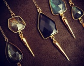 Stone and Pendulum Spike Necklace Gold Fill Chain