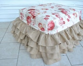 Burlap Ruffled Ottoman with Waverly French Roses